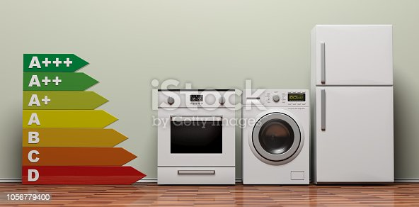 Home appliances and energy efficiency. Appliances set and energy rating chart on wooden floor. 3d illustration
