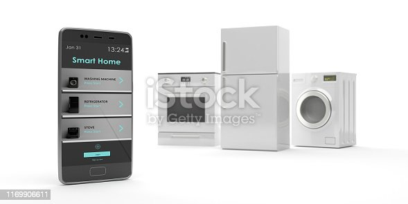 istock Home appliances set and smart phone on white background. 3d illustration 1169906611