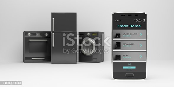 istock Home appliances set and smart phone on white background. 3d illustration 1169906640