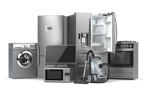 Home appliances. Set of household kitchen technics isolated on white background. Fridge, gas cooker, microwave oven, washing machine and vacuum cleaner. 3d illustration