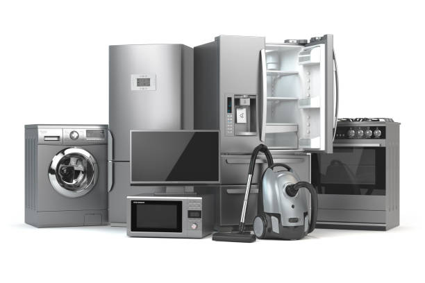 Home appliances. Set of household kitchen technics isolated on white background. Fridge, gas cooker, microwave oven, washing machine and vacuum cleaner. 3d stock photo