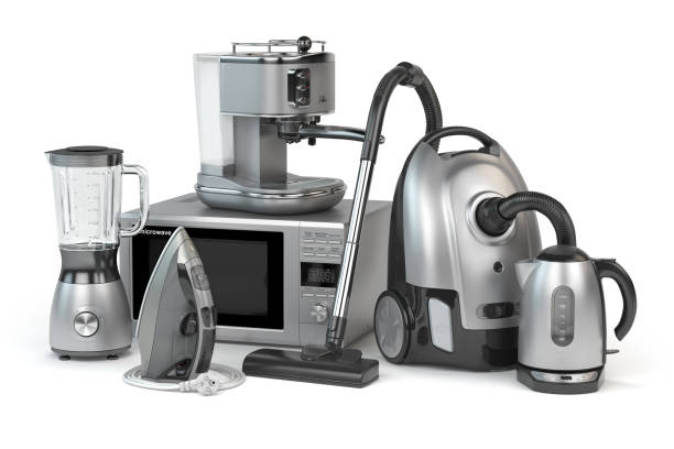 Home appliances. Set of household kitchen technics isolated on white background. Microwave oven, vacuum cleaner,  iron blender and teapot. stock photo