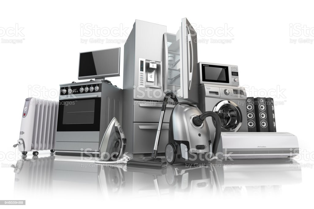 Home appliances. Set of household kitchen technics isolated on white background. E-commerce online internet store of appliances. stock photo