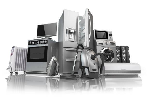 haushaltsgeräte. satz von haushalt küche technik isoliert auf weißem hintergrund. e-commerce online-internet-shop von geräten. - freizeitelektronik stock-fotos und bilder