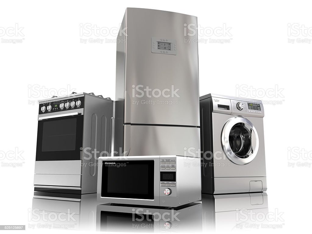 Home appliances. Set of household kitchen technics stock photo