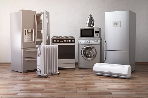 Home appliancess. Set of household kitchen technics in the new appartments or kitchen. E-commerce online internet store nad delivering of appliances concept. 3d illustration