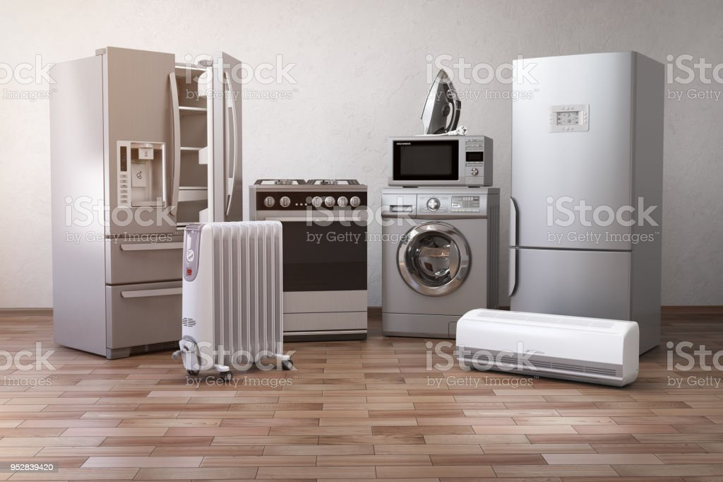Home appliancess. Set of household kitchen technics in the new appartments or kitchen. E-commerce online internet store nad delivering of appliances concept. 3d illustration stock photo