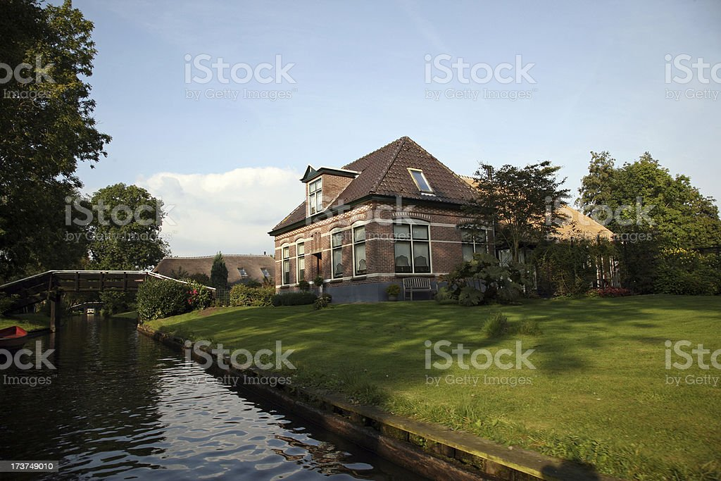 Home at Dutch canal royalty-free stock photo