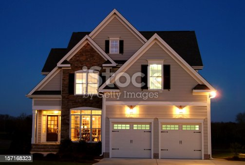 Front Elevation of Home Shot at Night.