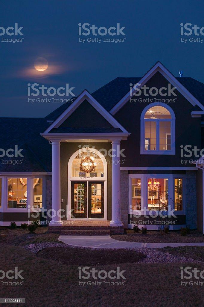 Home at twilight stock photo