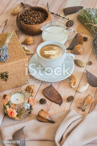 1009835562 istock photo Home atmosphere with a coffee cup and milk. Still life details of home interior. Autumn mood 1224415724