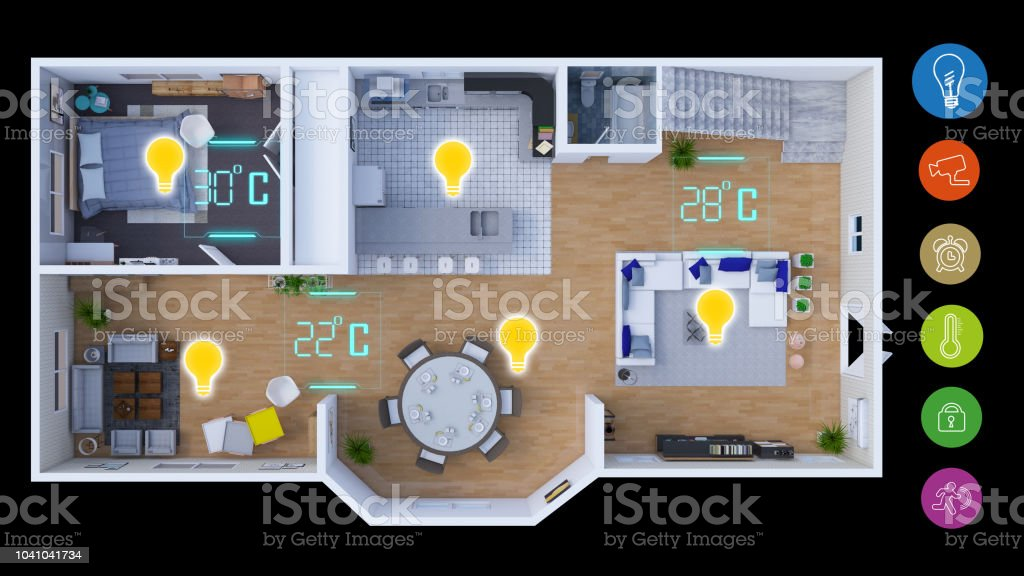 A conceptual to show smart homes in a modern mobile application. For...