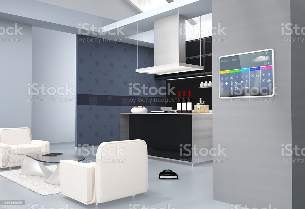 Home automation control panel on the kitchen wall stock photo