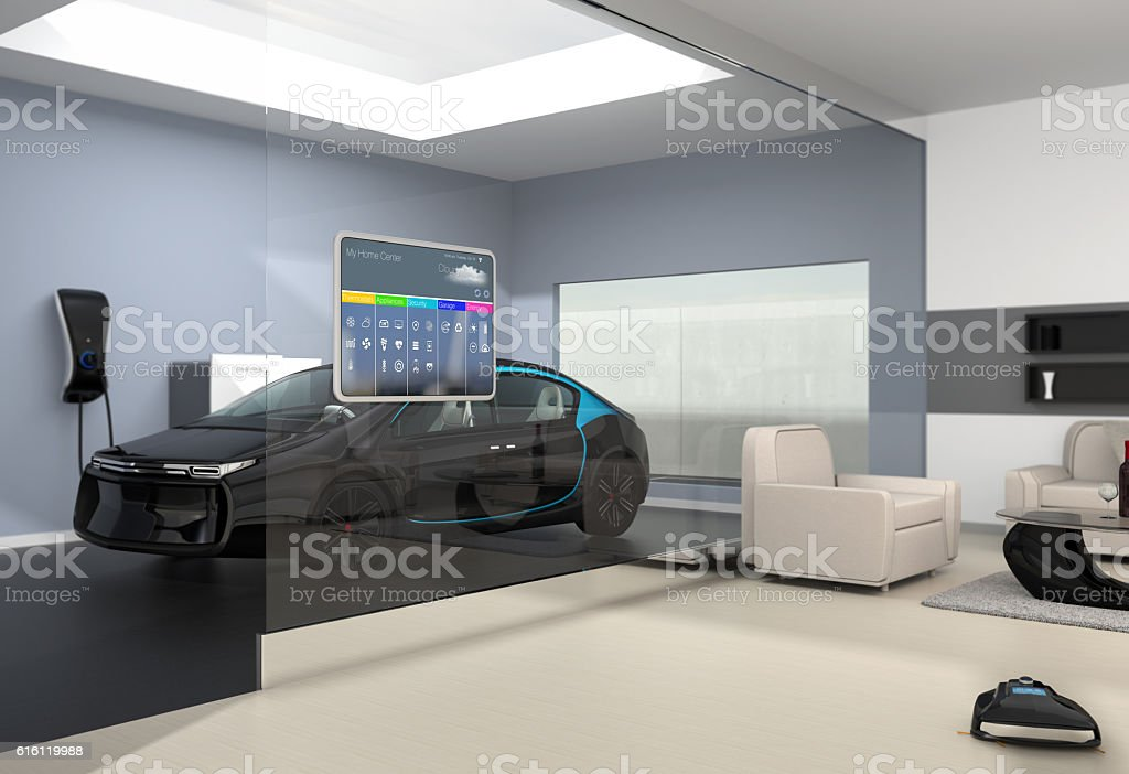 Home automation control panel on the wall stock photo