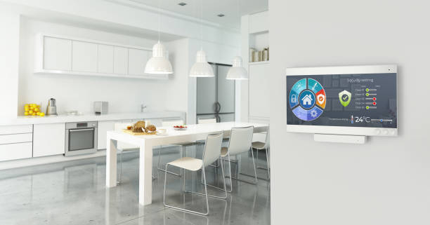 Home automation control station stock photo