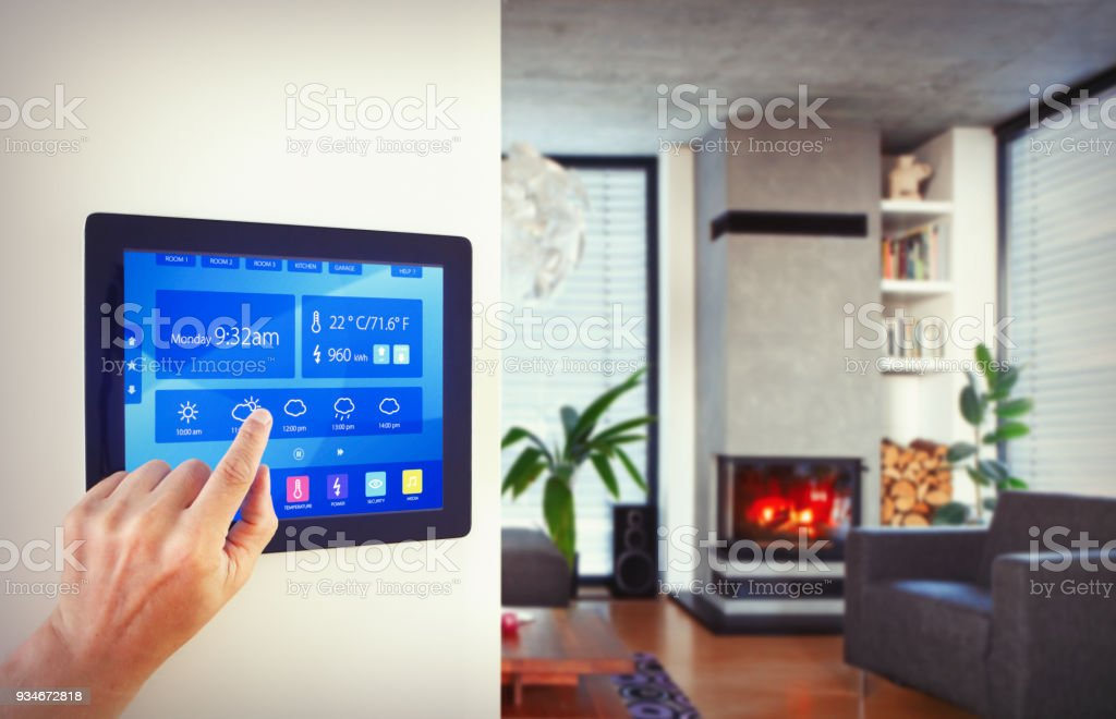 Home automation in living room stock photo