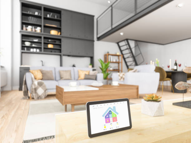 Home automation with Tablet Home automation with Tablet home automation stock pictures, royalty-free photos & images