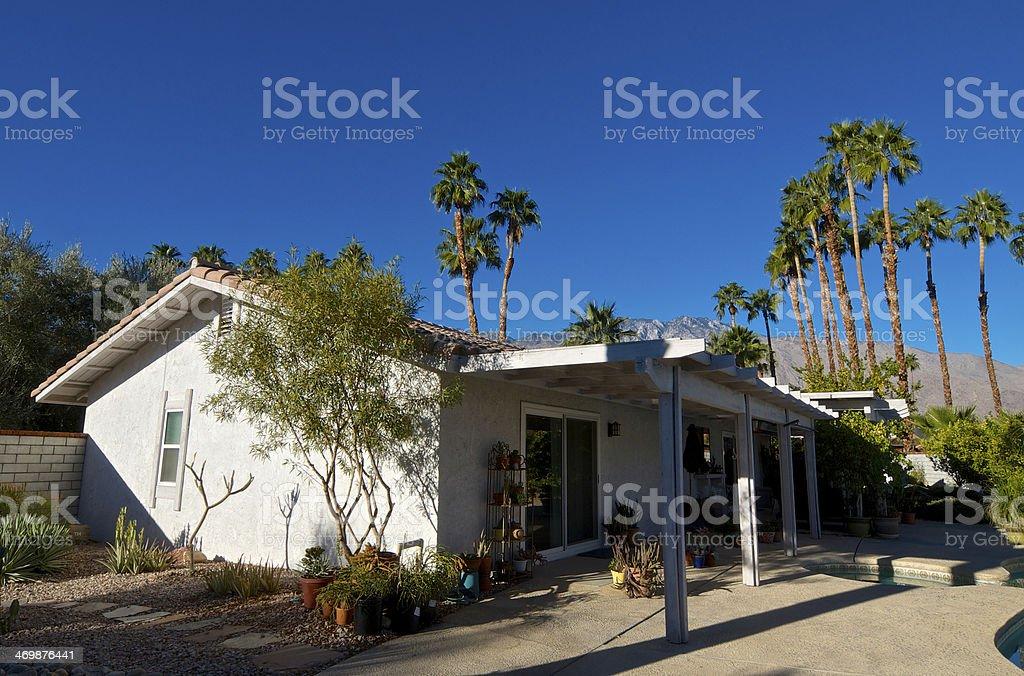 Home & backyard patio, Palm Springs landscape, Southern California, USA royalty-free stock photo