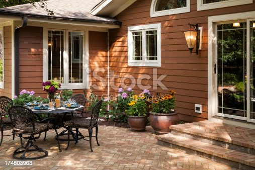 Lovely backyard patio setting on a recently remodeled residential home.