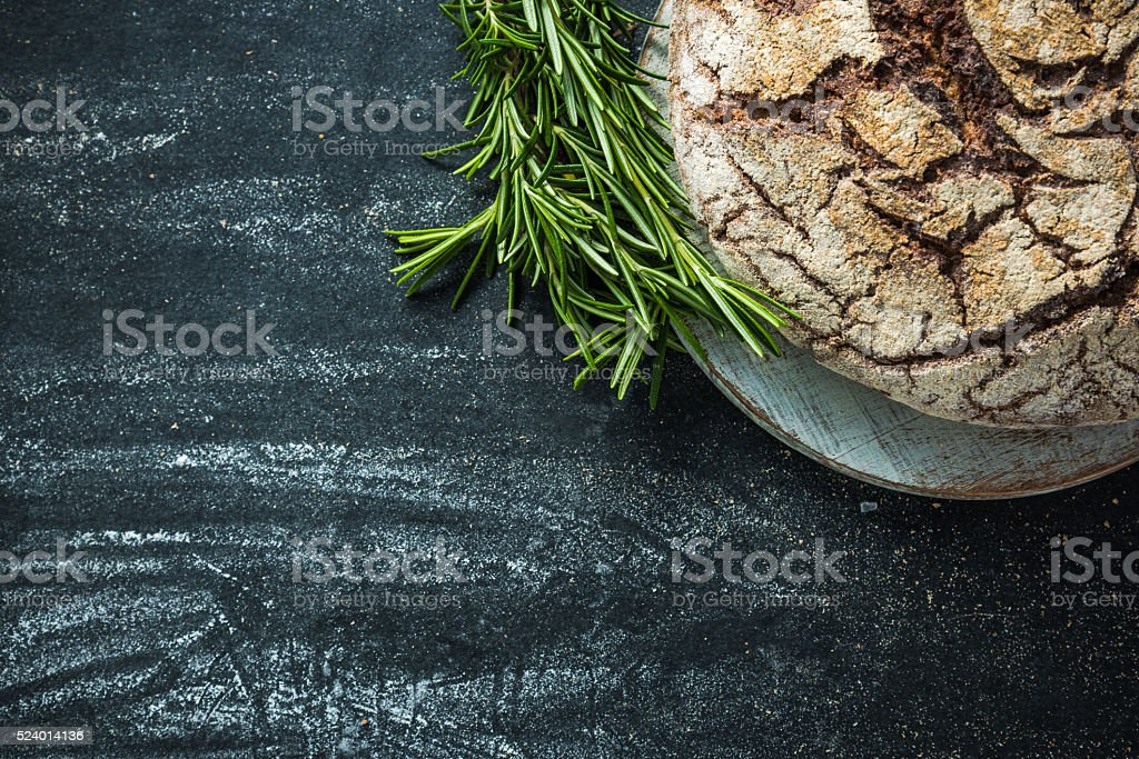 Home baked bread, food border background stock photo