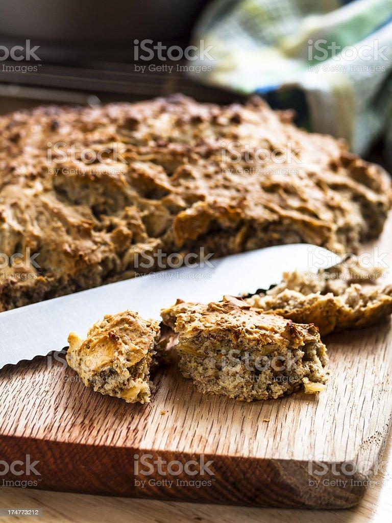 Home baked Irish wheaten bread stock photo