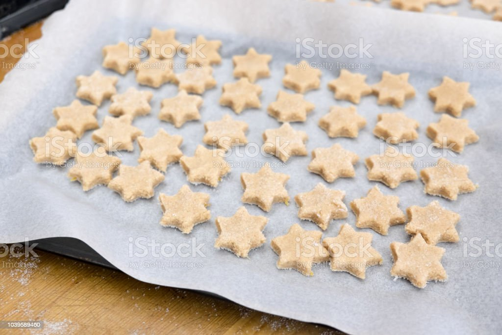 Home Baking Christmas Cookies Star Shaped Biscuits Arranged On