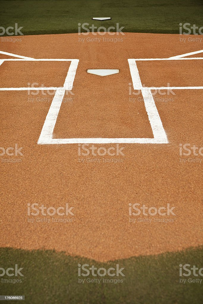 Home base plate on the diamond royalty-free stock photo