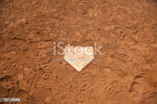 Baseball batters box in the dirt