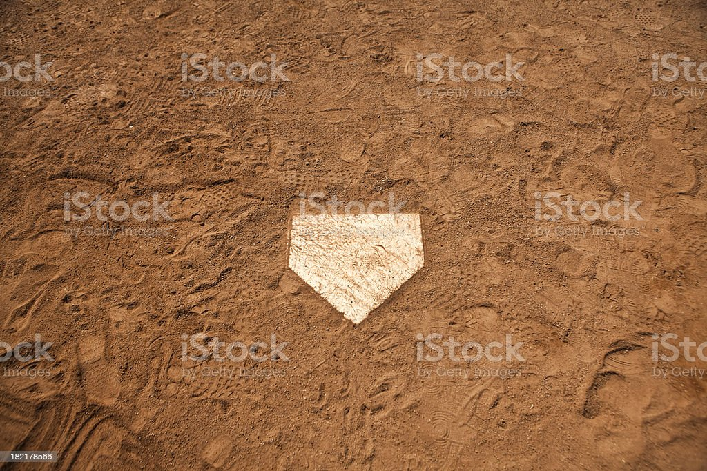 Home base plate on the diamond stock photo