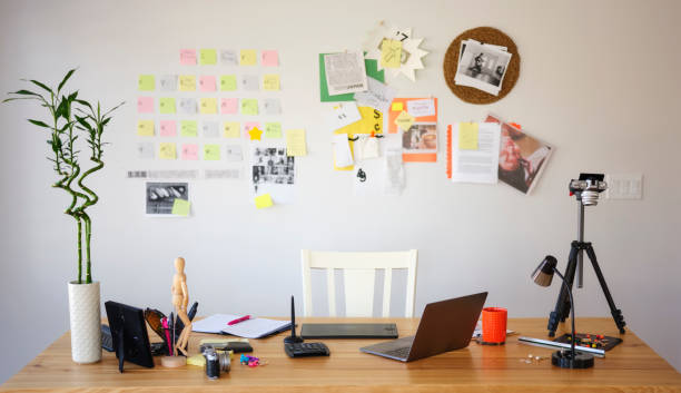 Home Based Office The home office of a creative professional. well structure stock pictures, royalty-free photos & images