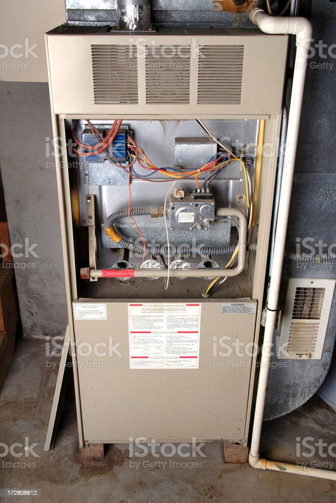 Home Basement Furnace Unit stock photo