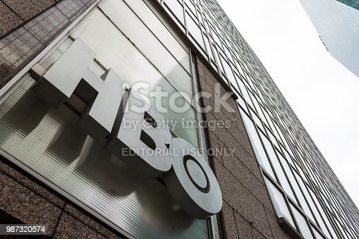 New York City. Logo of Home Box Office (HBO), an American premium cable and satellite television network, in the HBO Shop at Sixth Avenue (Avenue of the Americas)
