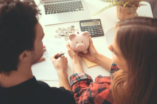 Home budget, family finance with piggy bank stock photo