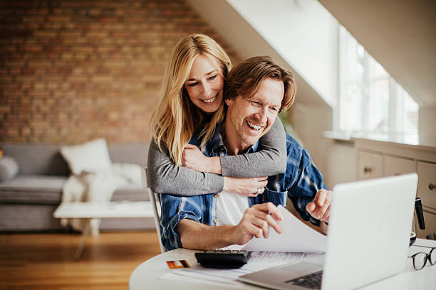 Home budgeting with a smile stock photo