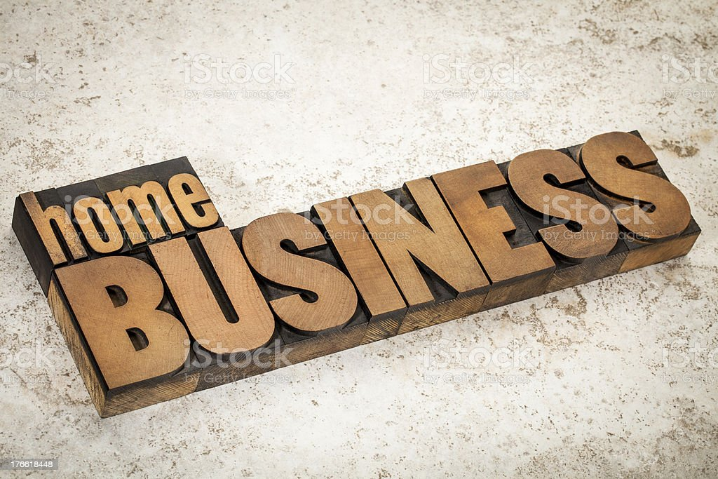 home business  in wood type royalty-free stock photo