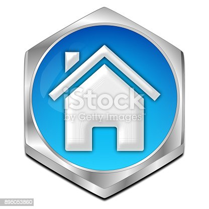istock Home Button - 3D illustration 895053860