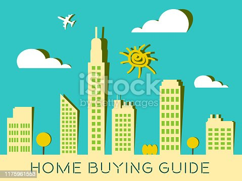 915688450 istock photo Home Buying Guide City Depicts Evaluation Of Buying Real Estate - 3d Illustration 1175961553