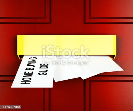 915688450 istock photo Home Buying Guide Door Depicts Evaluation Of Buying Real Estate - 3d Illustration 1176307364