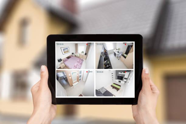 home camera cctv monitoring system alarm smart house video - foto stock