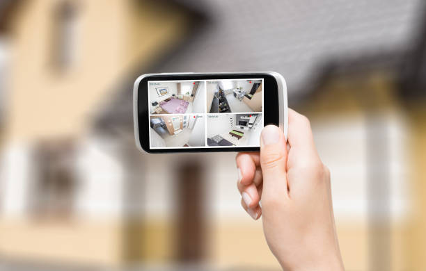 home camera cctv monitoring system alarm smart house video stock photo