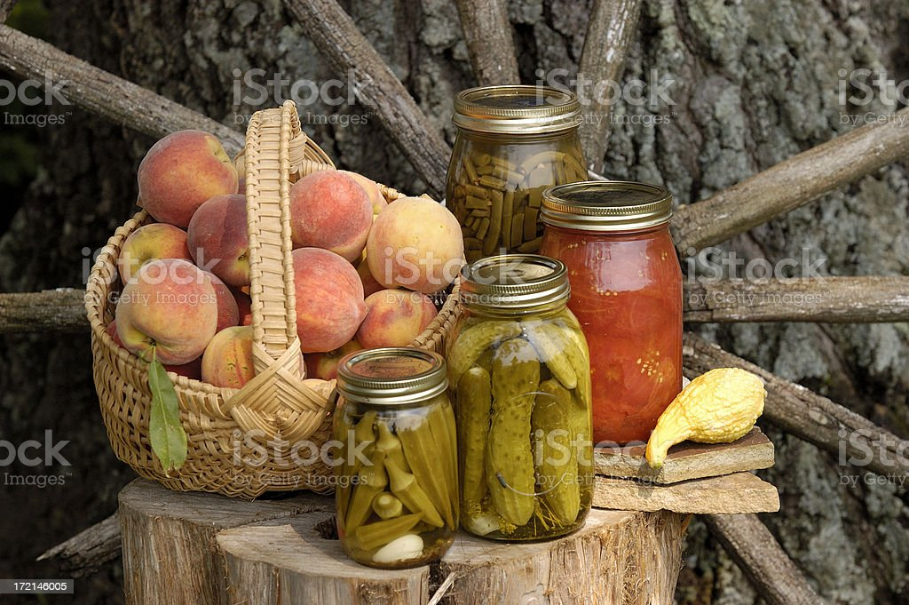 Home Canned Goods and Garden Harvest stock photo