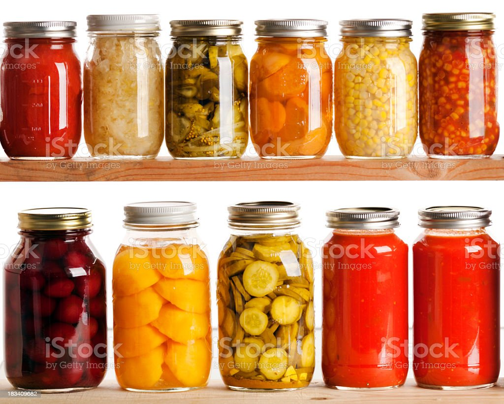 Home Canning Jars for Fall Harvest Vegetables and Fruit Preservation stock photo