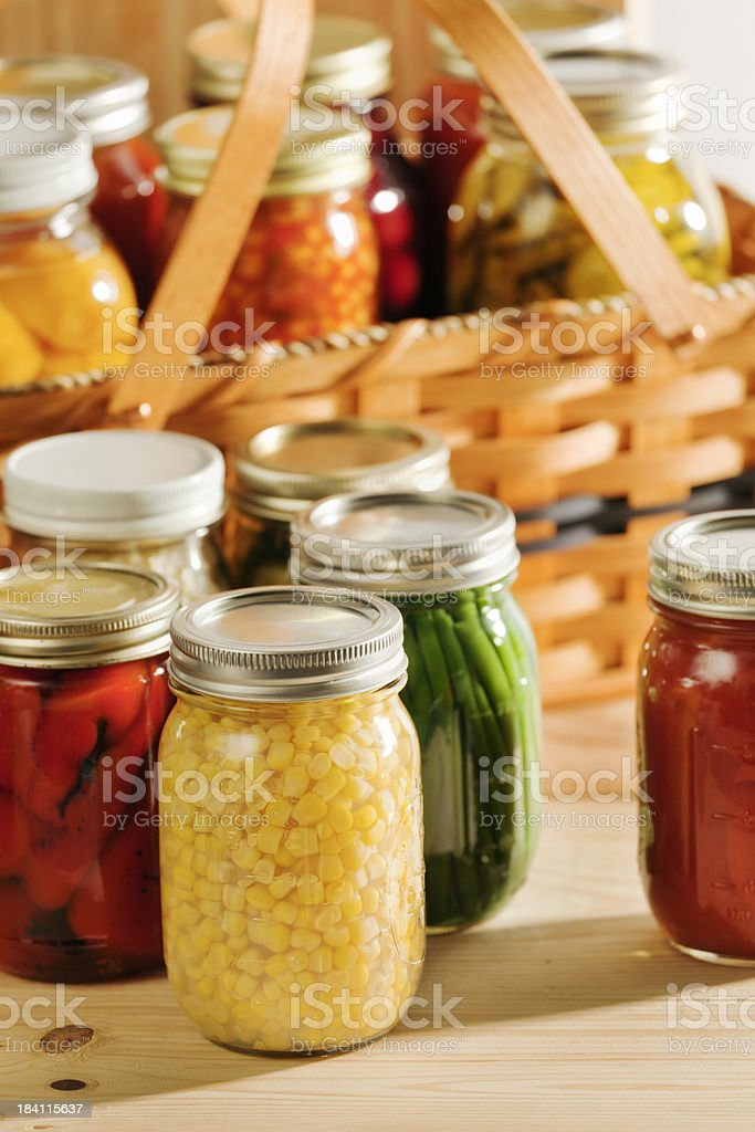 Home Canning of Fall Harvest Vegetables for Preservation Vt stock photo