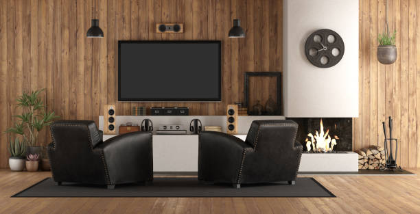 Home cinema in rustic style stock photo