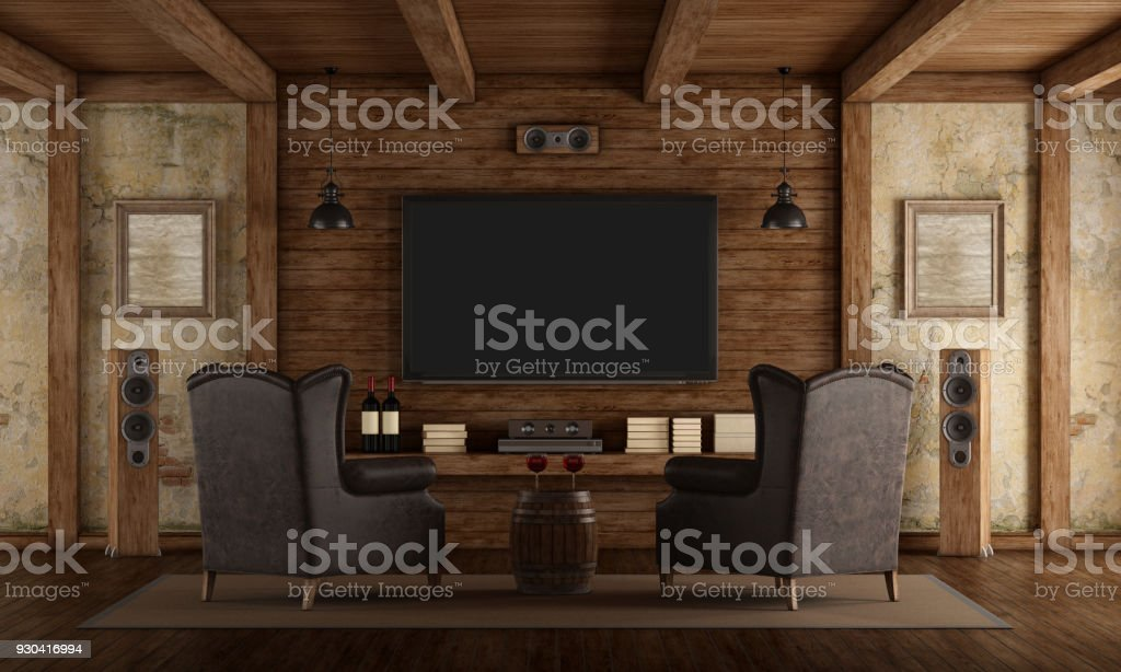 Home cinema in rustic style - foto stock