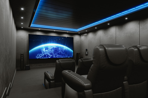 Private home cinema room. (World map texture courtesy of NASA: https://visibleearth.nasa.gov/view.php?id=55167)
