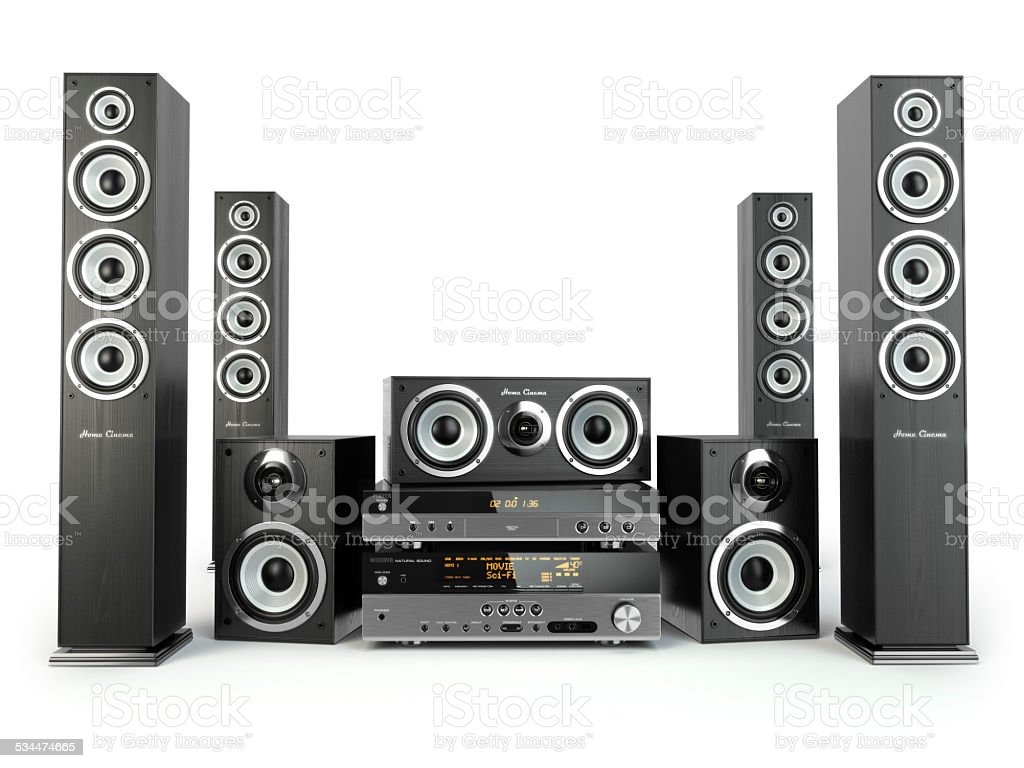 Home cinema speaker system. Loudspeakers, player and receiver. stock photo