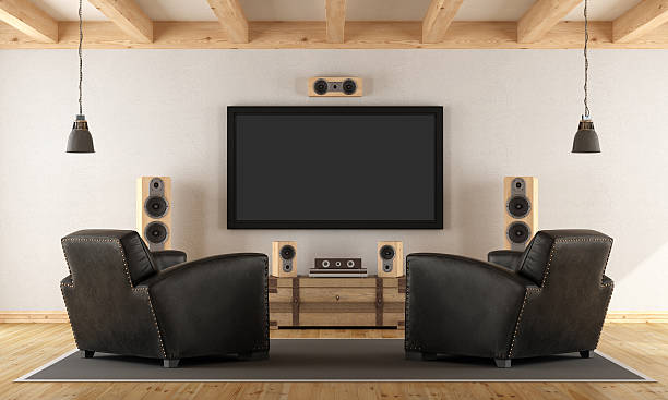 home cinema system with vintage furniture - arts culture and entertainment stock pictures, royalty-free photos & images