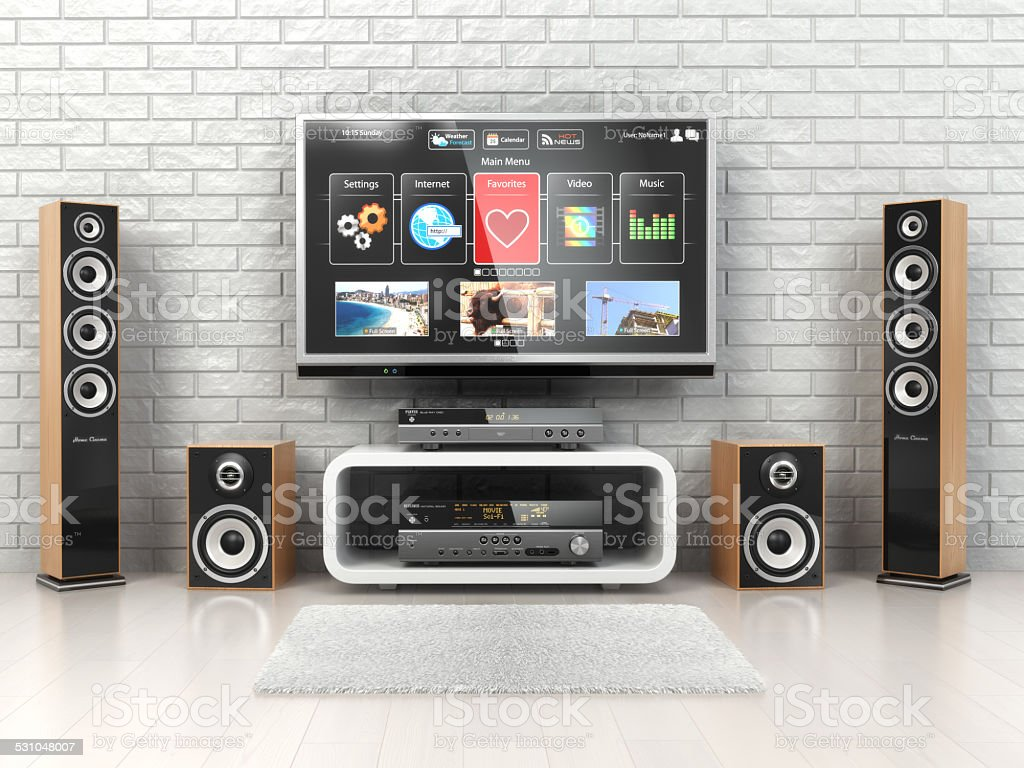 Home cinemar system. TV,  oudspeakers, player and receiver  in t stock photo