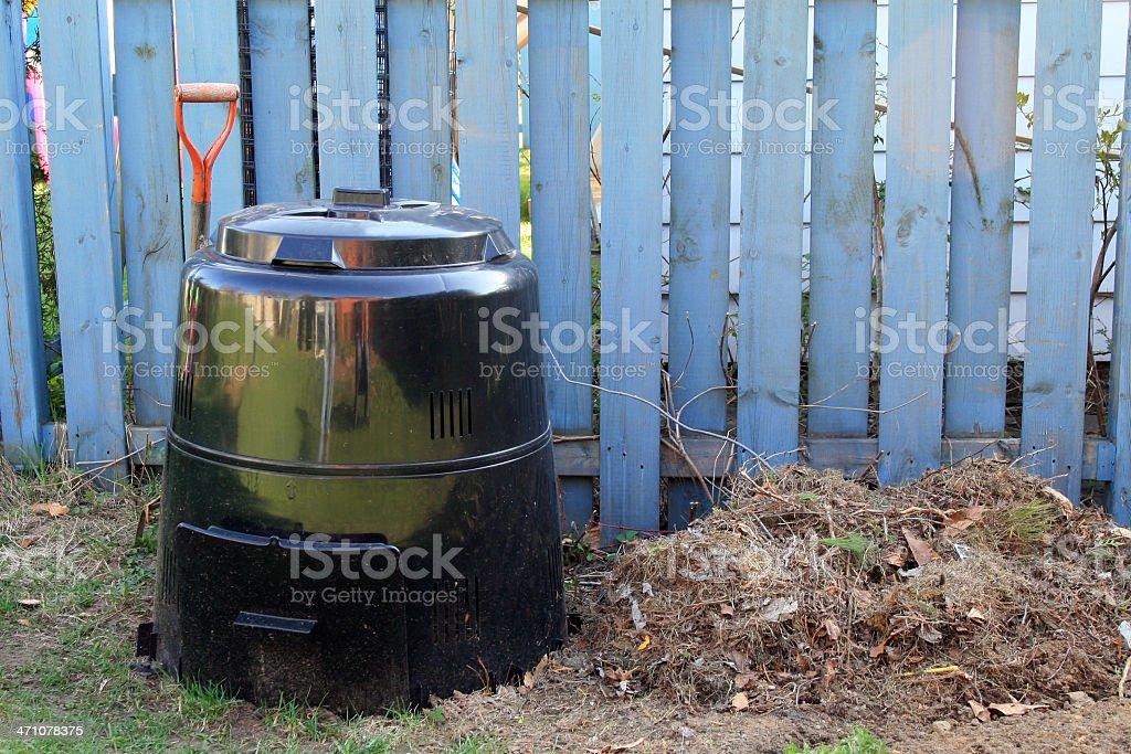 Home Composting Bin in Backyard royalty-free stock photo